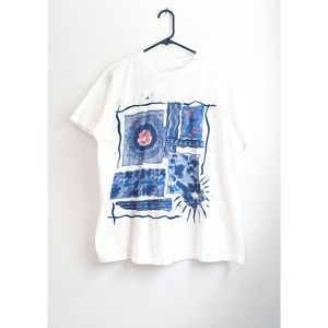 Vintage 90s White Painted Art Oversized Crew Tee